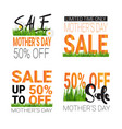 mothers day sale signs set isolated special offer vector image vector image