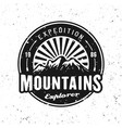 mountains expedition black round badge vector image vector image