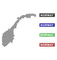 norway map in dot style with grunge title stamps vector image