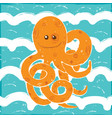 orange octopus in a blue waves vector image