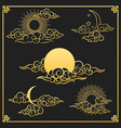oriental gold clouds sun and moon vector image vector image