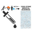 pipette icon with 1300 medical business icons vector image