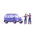 police checking car composition vector image