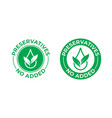 preservatives no added icon green leaf and drop vector image vector image