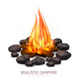 realistic campfire background composition vector image vector image