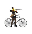 retro vintage old bicycle and military man vector image