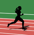 Running silhouettes in sport stadium vector image