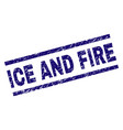 scratched textured ice and fire stamp seal vector image vector image