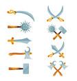 set cartoon game design crossed swords vector image