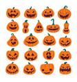 set halloween scary pumpkins flat style spooky vector image