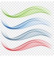 set of abstract waves blue green and red vector image vector image