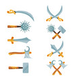 set of cartoon game design crossed swords vector image vector image
