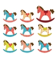 Set of patchwork horses 7 vector image vector image