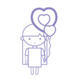 silhouette beauty girl with heart balloons and vector image vector image