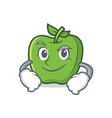 smirking green apple character cartoon vector image