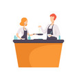 tv presenter and guest cooking some food in tv vector image vector image