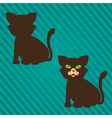 two types of cat silhouettes on a background of li vector image vector image