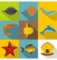 underwater animal icon set flat style vector image vector image