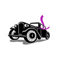 vintage coupe with flowing scarf retro vector image vector image