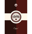 with badge and coffee cup vector image vector image