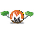 with money monero coin character cartoon vector image