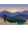 Woman hiker on top of a mountain watching vector image vector image