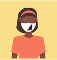 woman wearing protective face mask with cat icon vector image