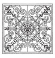 wrought-iron square panel is a very rich pattern vector image vector image