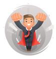 flying happy cute superhero businessman character vector image