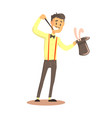 magician holding top hat with rabbit circus or vector image