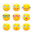 cute cartoon emoticons emoji icons smiley faces vector image