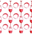 Seamless watercolor pattern with wine glass and vector image