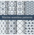 Blue marine seamless patterns set vector image