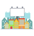 Big blank urban billboard over small city town vector image