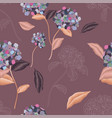 blooming luxurious hydrangea seamless pattern vector image vector image