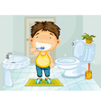 Boy brushing teeth vector image vector image