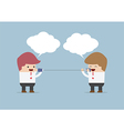 Businessmen talking on can phone vector image