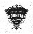 camping and traveling badge with mountains vector image vector image
