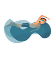 cartoon boy swimming in pool vector image