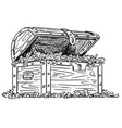 cartoon drawing wooden treasure chest full of vector image
