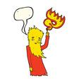 cartoon fire spirit with speech bubble vector image vector image