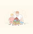 childhood fatherhood game lego concept vector image