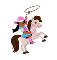 cowgirl riding a horse with lasso vector image vector image