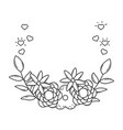 cute flowers with leafs crown vector image