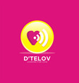 dating logo with love and wifi design concept vector image