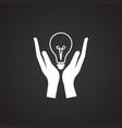 energy saving hands bulb on black background vector image