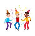 flat boys kids dancing in party hat vector image vector image
