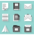 Flat icon set Paper 2 White style vector image