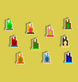 flat icons set of column chart with arrow up vector image vector image