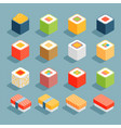 flat isometric icons sushi vector image vector image